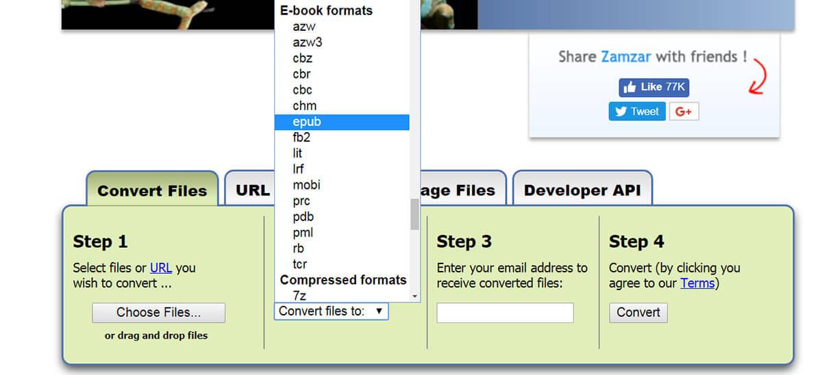 Zamzar fájkonvertáló programmal az e-bookokat szerkesztheted