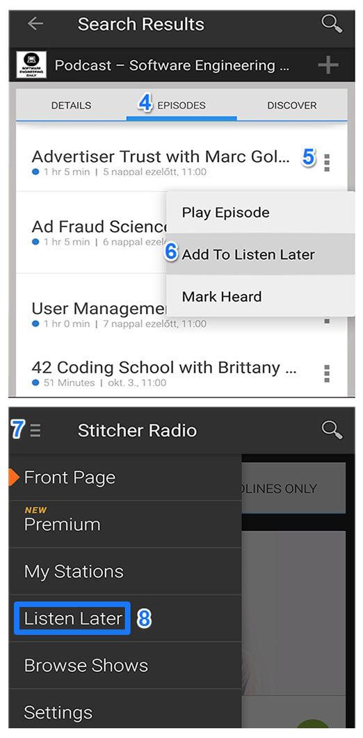 stitcher podcast használata üzleti angol tanulásra és hallott szövegértés fejlesztésre