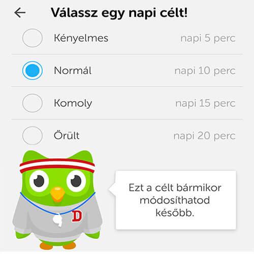 duolingo-angol-nyelvtanulás-app-napi-cél-kiválasztása