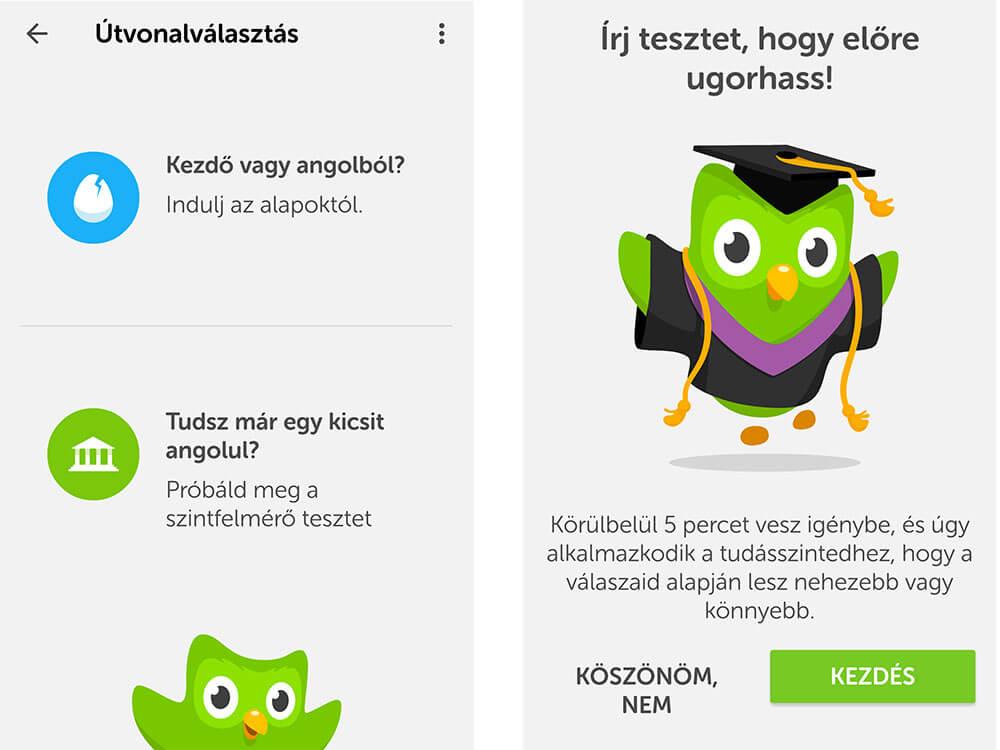duolingo legjobb nyelvtanuló app angol nyelvtanuláshoz szintfelmérő teszt kitöltése