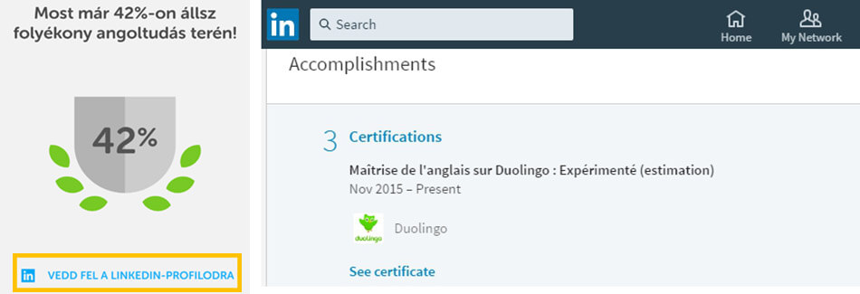 duolingo nyelvtanuló app linkedin certification