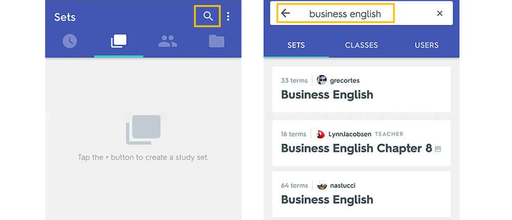 quizlet szótanuló nyelvtanuló app keresés mások szókártyáival tanulás
