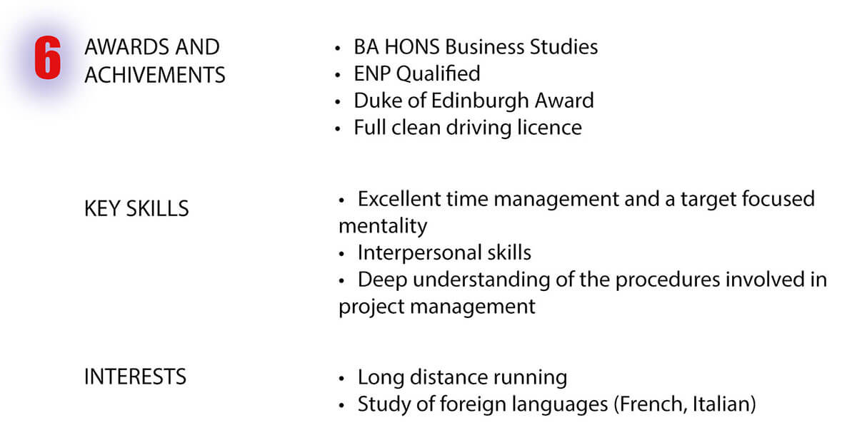 angol nyelvű önéletrajz sablon - díjak, eredmények, képességek és érdeklődési körök része