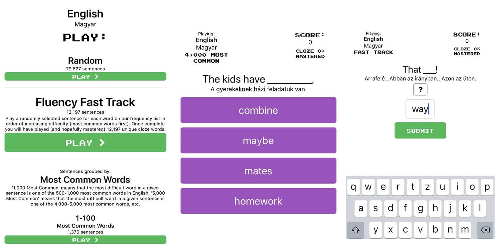 clozemaster angol szókincsfejlesztő app