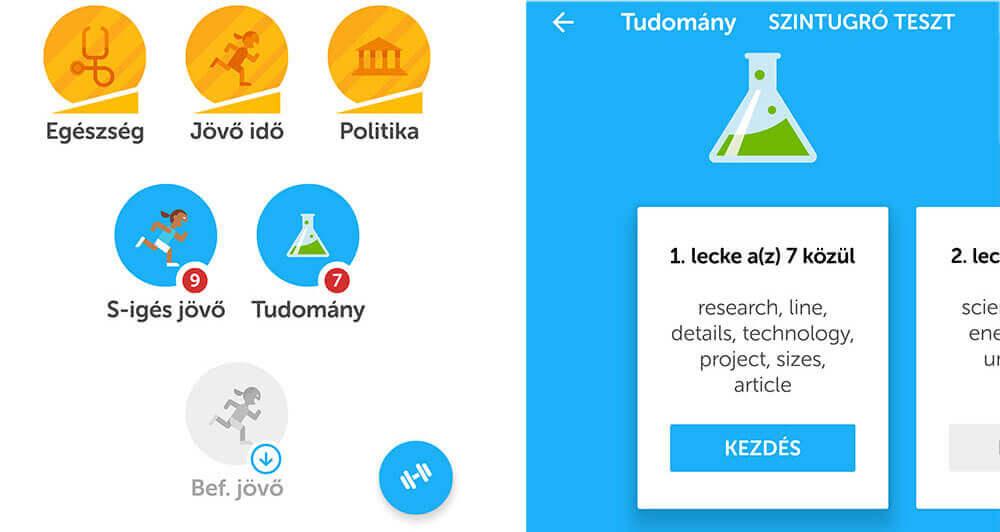 Duolingo Angol szókincsfejlesztő app