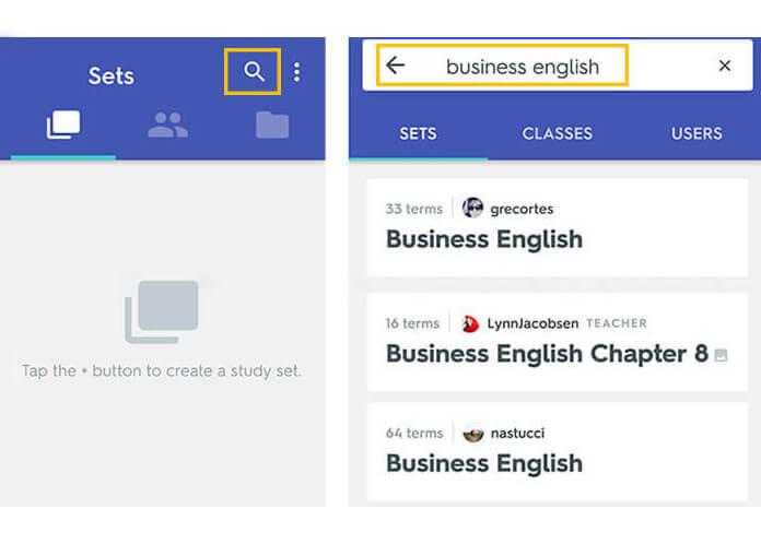 quizlet-szótanuló-szótanuló-app-keresés-mások-szókártyáival angol szókincs fejlesztése
