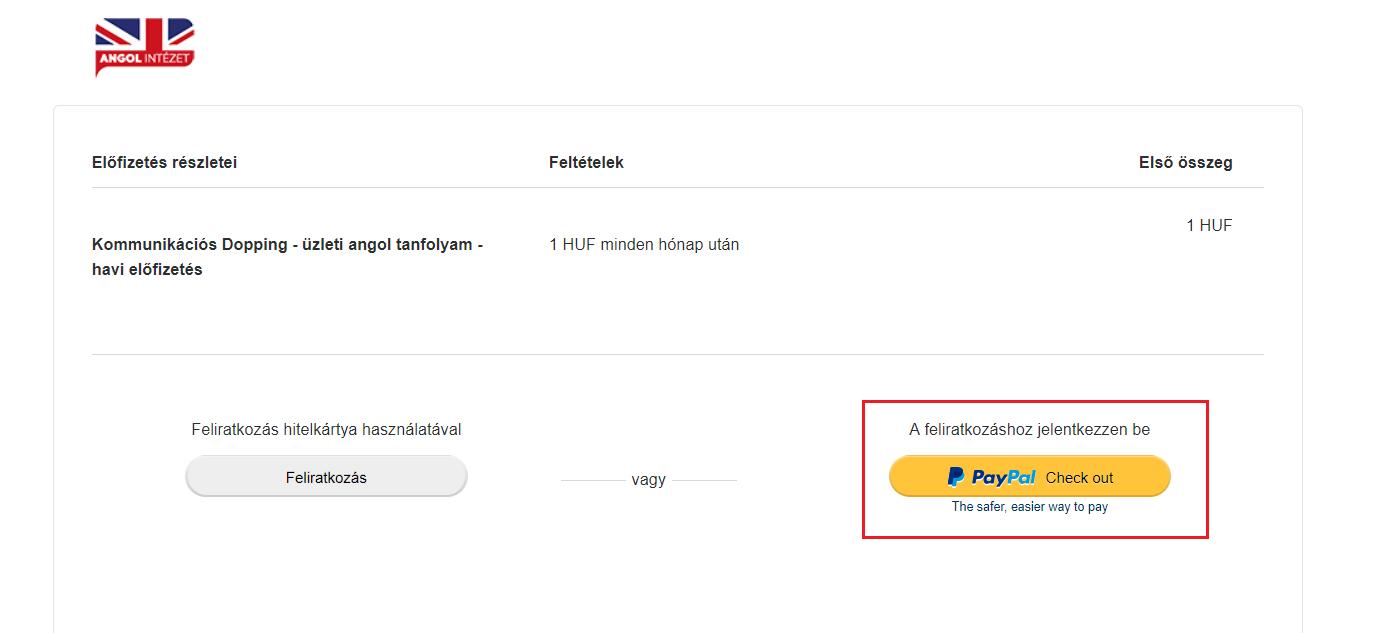 Paypal fiók létrehozása első lépés